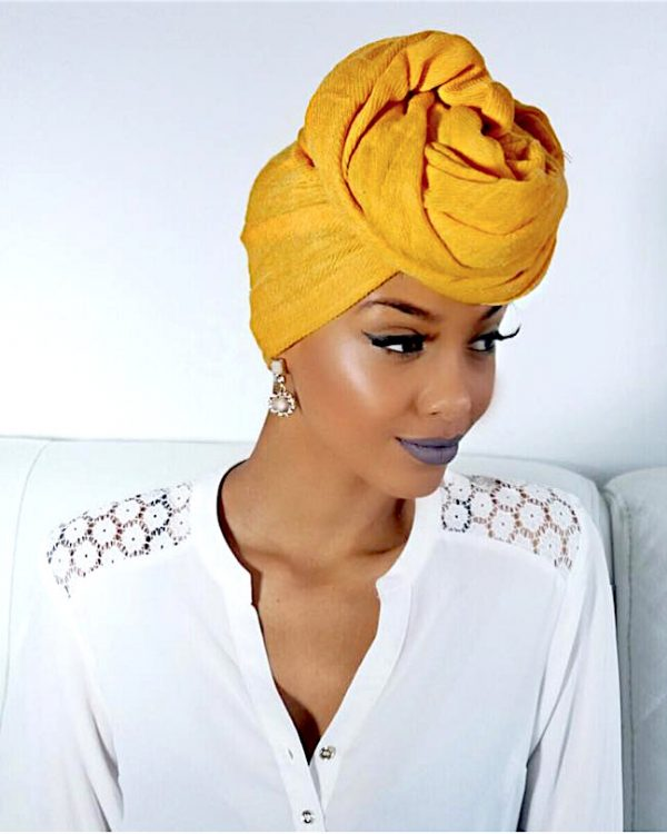 akaara Yellow Solid Headwrap Turban